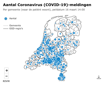 COVID-19 mapped in the Netherlands by RIVM